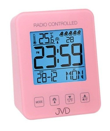 Budzik JVD RB38.2 Termometr, 5 alarmów, DCF77