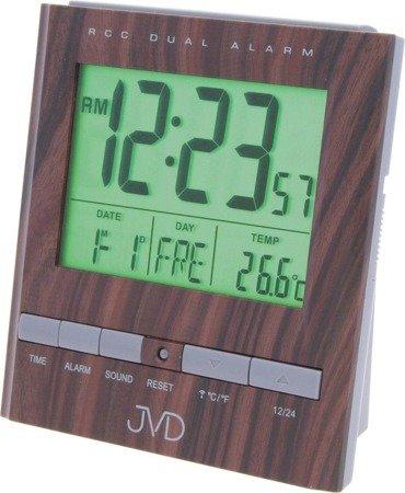 Budzik JVD RB92.3 Termometr, dwa alarmy, DCF77