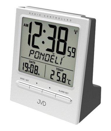 Budzik JVD RB9299.1 dni tygodnia PL Termometr DCF77 Dwa Alarmy