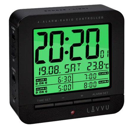 Budzik LAVVU LAR0011 Termometr Sensor Light 4 alarmy DCF77
