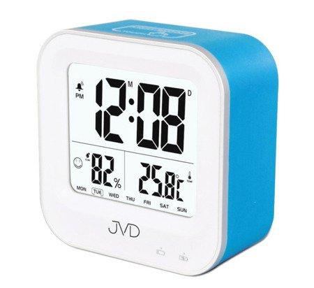 Budzik akumulatorowy JVD SB9909.3 z termometrem i higrometrem