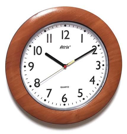 Drewnopodobny zegar ścienny Atrix T1217C cichy 27 cm