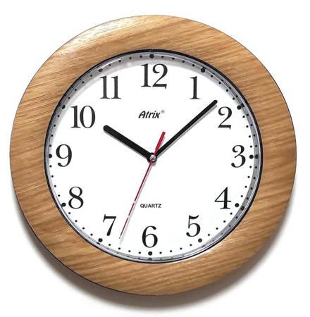 Drewnopodobny zegar ścienny Atrix T1217T cichy 27 cm